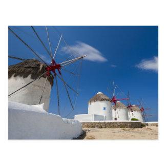 Greece, Cyclades Islands, Mykonos, Old windmills Postcard