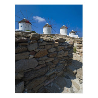 Greece, Cyclades Islands, Mykonos, Stone wall Postcard