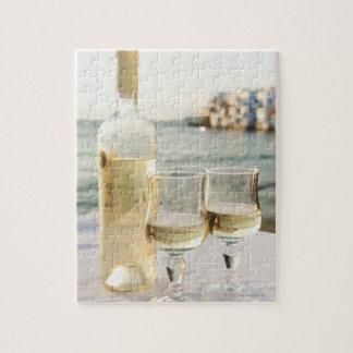 Greece, Cyclades Islands, Mykonos, Wine on table Puzzle