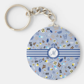 Greece: famous items of the country basic round button keychain