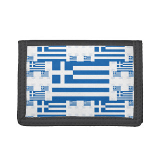 Greece Flag in Multiple Colorful Layers 2 Trifold Wallet