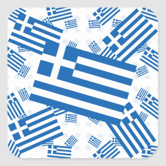 Greece Flag in Multiple Colorful Layers Askew Square Sticker