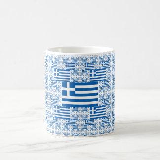 Greece Flag in Multiple Colorful Layers Basic White Mug