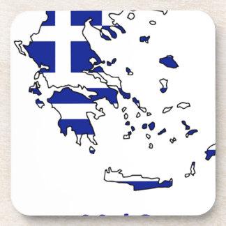 GREECE FLAG MAP COASTER