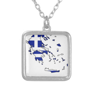 GREECE FLAG MAP SILVER PLATED NECKLACE