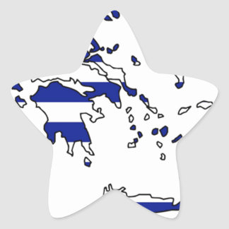 GREECE FLAG MAP STAR STICKER