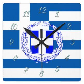Greece flag square wall clock