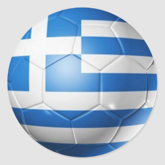 GREECE FOOTBALL FLAG CLASSIC ROUND STICKER