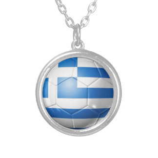GREECE FOOTBALL FLAG SILVER PLATED NECKLACE
