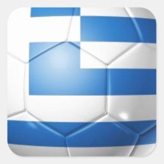 GREECE FOOTBALL FLAG SQUARE STICKER