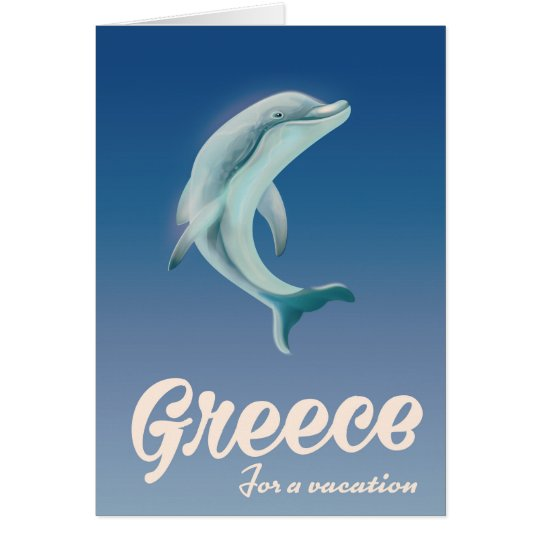 Greece for a vacation Dolphin travel poster Card