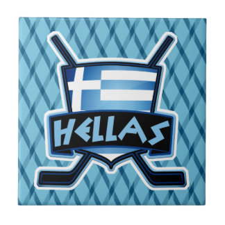 Greece Ice Hockey Flag Logo Tile