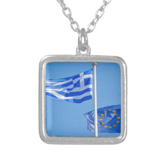 Greece in the European Union Silver Plated Necklace