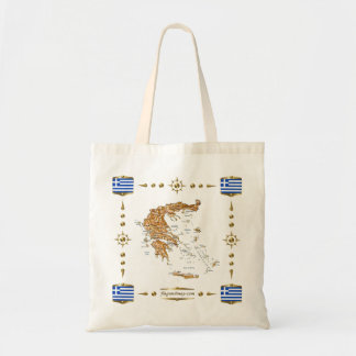 Greece Map + Flags Bag