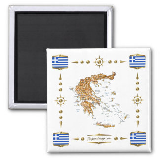 Greece Map + Flags Magnet