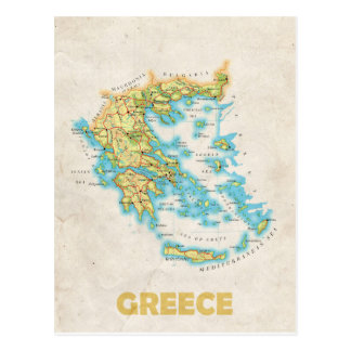Greece map postcard