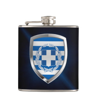 Greece Metallic Emblem Hip Flask