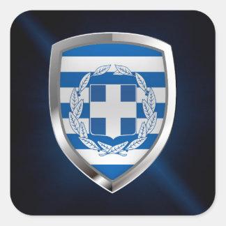 Greece Metallic Emblem Square Sticker