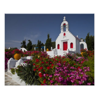 Greece, Mykonos, Cute little chapel in the Poster