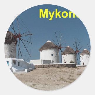 Greece Mykonos Windmills (Aggel) Round Sticker