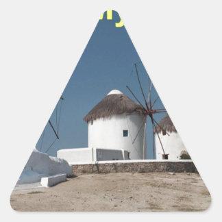 Greece Mykonos Windmills (Aggel) Triangle Sticker