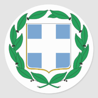 Greece Official Coat Of Arms Heraldry Symbol Classic Round Sticker