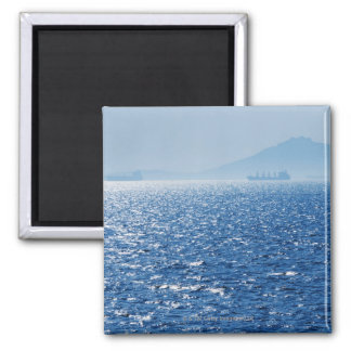 Greece, Oil tankers and cargo ships on Aegean 2 Square Magnet