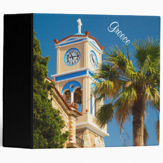 Greece - Orthodox Greek Church with Palm Tree 3 Ring Binders