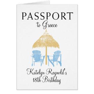 Greece Passport Birthday Trip Present Card