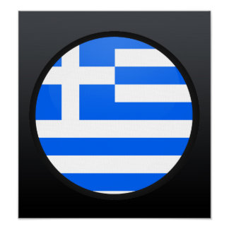 Greece quality Flag Circle Poster