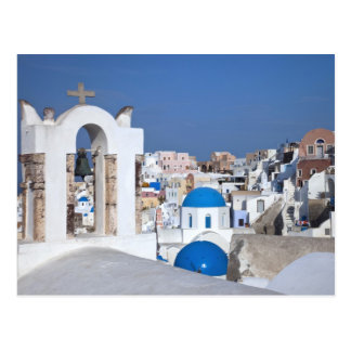 Greece, Santorini. Bell tower and blue domes of 2 Postcard