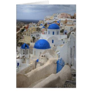 Greece, Santorini. Bell tower and blue domes of 3 Card