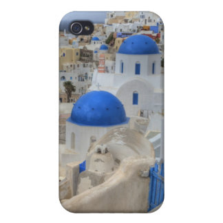 Greece, Santorini. Bell tower and blue domes of 3 Covers For iPhone 4