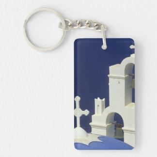 Greece, Santorini. View of a Greek church and Double-Sided Rectangular Acrylic Keychain