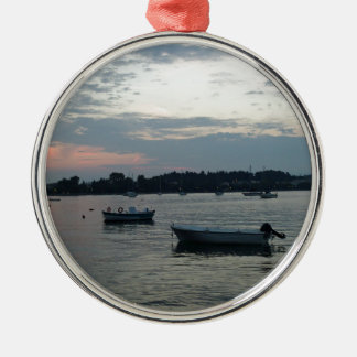 greece sunset Silver-Colored round ornament