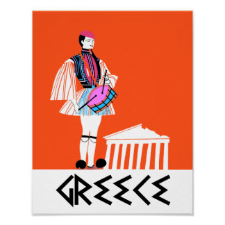 Greece, vintage style travel poster