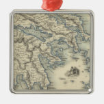 Greece with inset maps of Corfu and Stampalia Metal Ornament