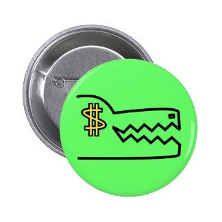 greedy greedy gator. 2 inch round button