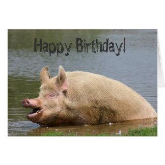 Greedy pig Birthday Card