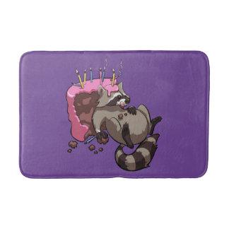 Greedy Raccoon Full of Birthday Cake Cartoon Bath Mat
