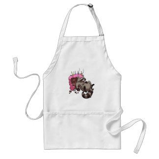 Greedy Raccoon Full of Birthday Cake Cartoon Standard Apron