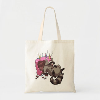 Greedy Raccoon Full of Birthday Cake Cartoon Tote Bag