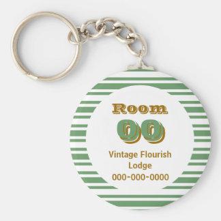 Greeen brown stripes hotel room keychain