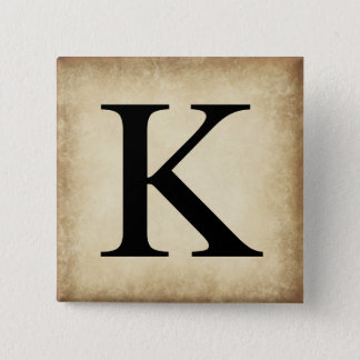 Greek Alphabet Letter Kappa 2 Inch Square Button