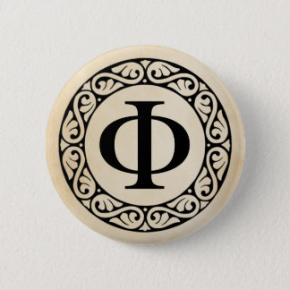 Greek Alphabet Letter Phi 2 Inch Round Button