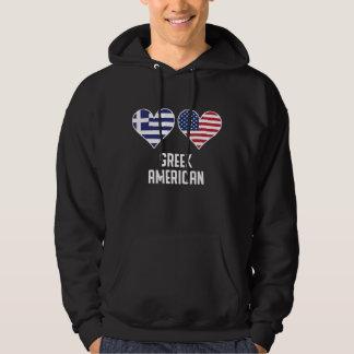Greek American Heart Flags Hoodie