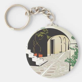 Greek Archway Basic Round Button Keychain