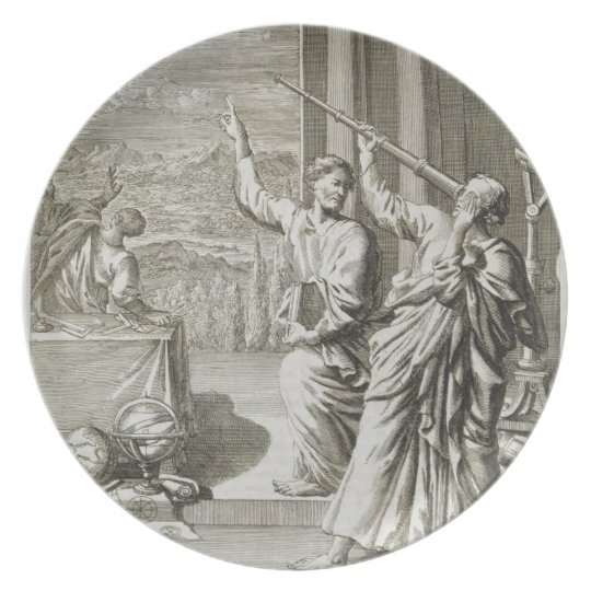 Greek Astronomer Studying the Stars, illustration Plate