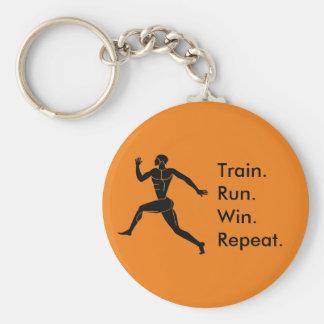 Greek Athlete Running Winning Formula Orange Keychain