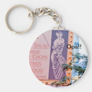 Greek Basic Round Button Keychain